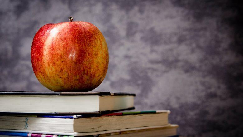 Bild zum Artikel Bildungarbeit: Bücher und Apfel auf Schreibtisch